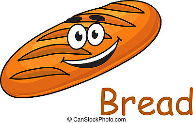 Happy cartoon crusty loaf of bread with a big smile isolated...