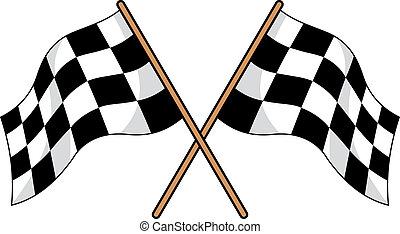 Two crossed black and white checkered flags used in motor...