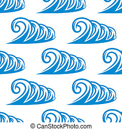 Seamless pattern of curling blue ocean waves