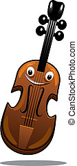Happy brown cartoon wooden violin with a smiling face and...