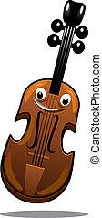 heureux, brun, dessin animé, bois, violon
