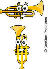 Two variations of a cartoon trumpet