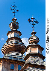 wood church - Top of Ukrainian historical country wood...