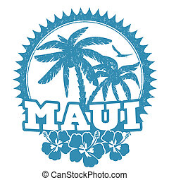 Maui stamp - Maui travel rubber stamp on white, vector...