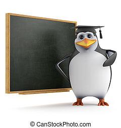 3d Penguin teaches class