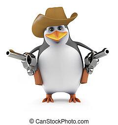 3d Penguin quick draw - 3d render of a penguin cowboy...