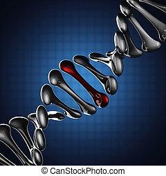 DNA model on blue background