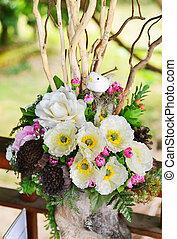 Flower arrangement in vases