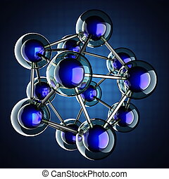 Atom model on blue background