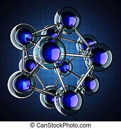 azul, modelo, fundo, átomo