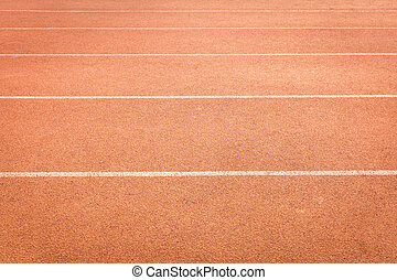 athletics track lanes with white line - red color and...
