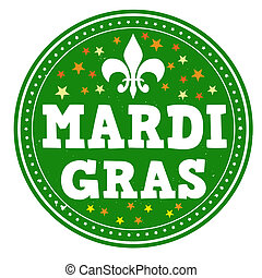 Mardi gras stamp - Mardi gras grunge rubber stamp on white,...