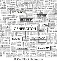 GENERATION. Seamless pattern. Word cloud illustration.