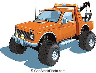 Wrecker - Vector isolated wrecker, tow truck on white...