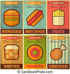 Retro fast food posters collection - Fast Food Retro Placard...