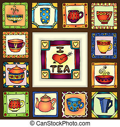 Tea cups and pots frame hand drawn design. - Tea cups and...