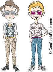 vector funny cartoon hipster boys - two hipster guys in a...
