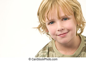 Happy Chappy - Studio shot of a young blonde boy with a...