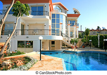 House - Beautiful villa with columns, statues and swimming...
