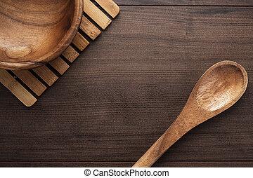 de madera, ensalada, placa, Cuchara, marrón, tabla