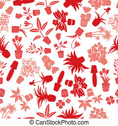 home houseplants and flowers pattern eps10
