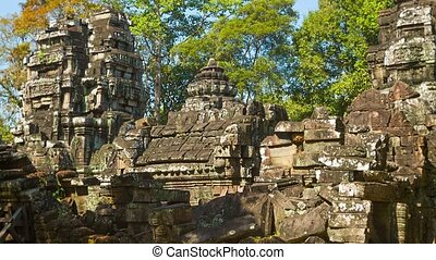 Ruins of ancient temples of the 12th century Cambodia,...
