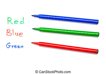 Brain teaser: Colors mixed up in text - Red, blue, green pen...
