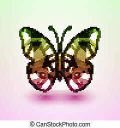 Abstract butterfly, futuristic colorful illustration