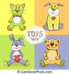 cute stuffed animals - vector illustration cute stuffed...