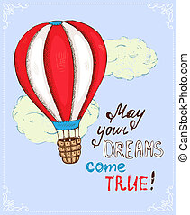 poster with hot air balloon