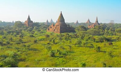 Temple complex of Bagan at sunset. Burma - Video 1920x1080 -...