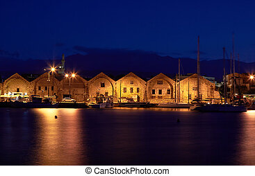 Venetian arsenal - Old venetian arsenal at port Chania in...