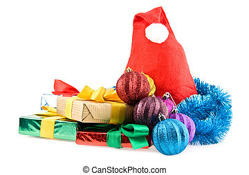 gifts and christmas decorations on a white background