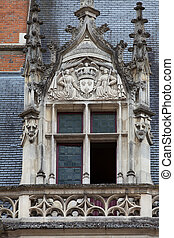 Castle of Blois.The window in the Gothic wing of Louis XII....