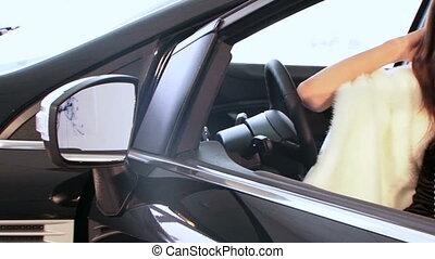 Brunette in a car
