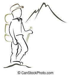 Mountaineering symbol - Hiker in the mountains admiring the...