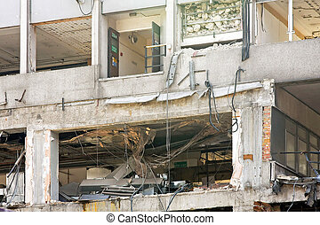 Earthquake - Interior of building after strong seismic...