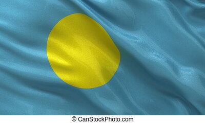 Flag of Palau seamless loop - Flag of Palau gently waving in...