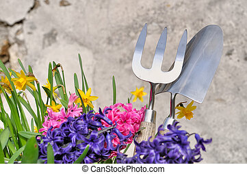 spring flowers and gardening tools against wall