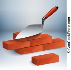 Trowel and bricks illustration