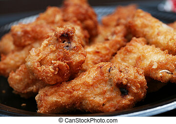 Fried chicken wings - Plate of fried chicken wing dings