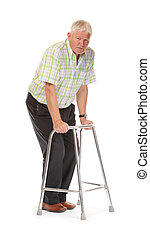 Disabled casual mature man on white background, using...