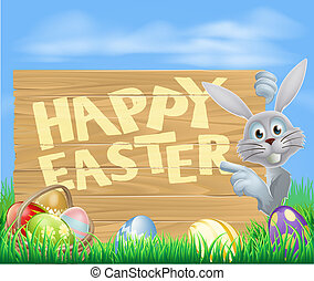 White Easter bunny pointing at sign - Cartoon Easter rabbit...