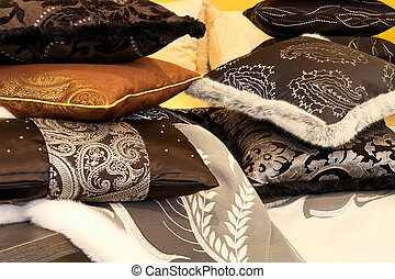 Pillows 2 - Bunch of soft decorative pillows at bed