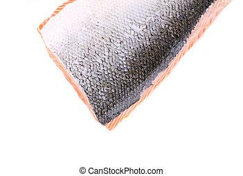 Fresh Norwegian salmon closeup Isolated on a white...