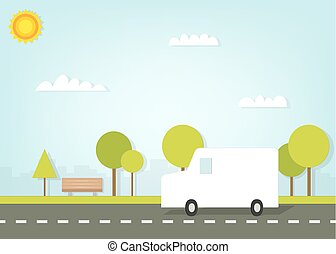van driving on road outside the city
