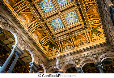 The interior of the Library of Congress, in Washington, DC