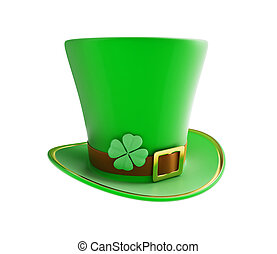 St Patricks day green hat on a white background