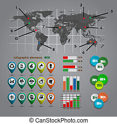 Ecologi infographic with map, web design, vector