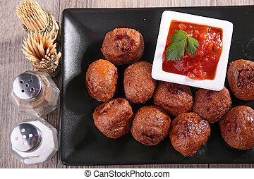 grilled meatballs and sauce